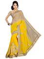 Silkbazar Chiffon Embroidered Saree - Yellow - FL-10151