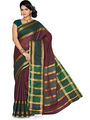 Ishin Cotton Embroidered  Saree - Maroon-SNGM-1548