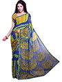 Ishin Printed Georgette Saree - Blue & Green