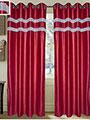 Set of 2 JBG Luxury Diamond Lace Design Door Curtains - Maroon- JBG407