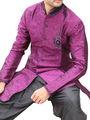 Runako Regular Fit Elegant Silk Brocade Sherwani For Men - Purple_RK1055