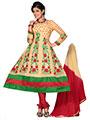 Silkbazar Embroidered Cotton Anarkali Semi-Stitched Dress Material - Beige-SB-1288